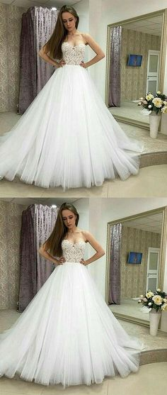 WHITE SWEETHEART NECK LACE TULLE LONG PROM GOWN, LACE EVENING DRESS #prom #dresses #longpromdress #promdress #eveningdress #promdresses #partydresses #2018promdresses #ballgown #eveninggown #promgown #weddingdresses #bridaldresses #whitelacepromdresses