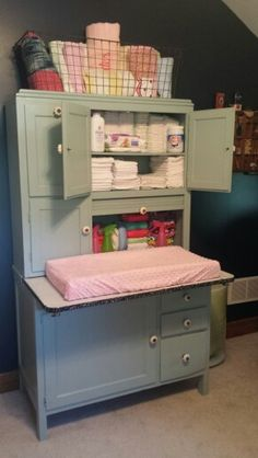 My Hoosier Cabinet Changing Table