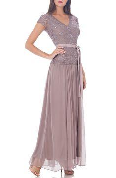 JS Collections Soutache Appliqué Gown (Regular & Petite)