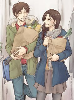 Eren and his mom back from grocery shopping =)