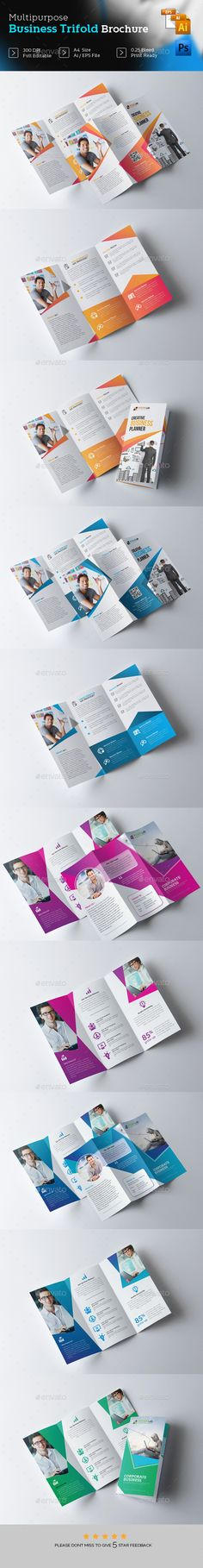 2 Trifold Brochure Design Templates PSD, Vector EPS, InDesign INDD, AI Illustrator