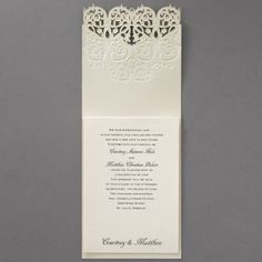 2014 Wedding Invitation Trends: Laser cut - Vision of Love - Invitation | Occasions In Print, LLC (Invitation Link - http://occasionsinprint.carlsoncraft.com/Wedding/Wedding-Invitations/3150-FVN1729-Vision-of-Love--Invitation.pro