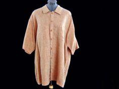 FLAX LINEN Jeanne Engelhart SHIRT Cross Weave Sand Size L XL Bust 54