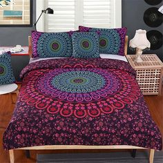 Olwen Shop Bedding Sets - Mandala Bedding Set Queen Soft Bedclothes Twill Bohemian Print Duvet Cover Set with Pillowcases Bed Set Home Comforter Cover, Duvet Bedding, Duvet Cover Sets, Linen Bedding, Bed Linens, Comforter Sets, Red Bedding, Bed Sets, Bohemian Bedding Sets