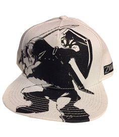 420e4005b2dd10 Nintendo Zelda Action Black & White Print Flat Brim Baseball Cap Hat