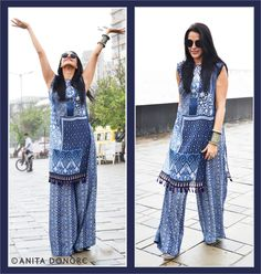 Neha Dhupia in an Anita Dongre Pret - Tabard and Pallazo from the WIFW, Urban Folk Tale collection.