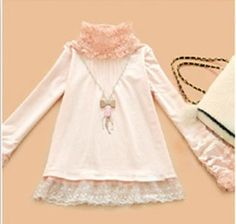 Stand-up collar shirt bottoming new special Korean long-sleeved delicate lace solid color in autumn and winter wild T-shirt T-shirt - Taobao