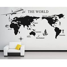 Wall Stickers Wall Decals, Large World Map PVC Wall Stickers – USD $ 36.99