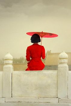ILINA SIMEONOVA ASIAN WOMAN WITH PARASOL SITTING ON WALL Women Umbrellas Parasols, Asian Woman, Wall, Women, Patio Umbrellas, Women's, Woman