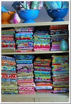 "Lots of Fabric Storage Ideas – Organize It!  (I'm really just pinning this because I think it's beautiful.  Anyone else playing ""got it, want it, want it, got it, got it but need more""??)"
