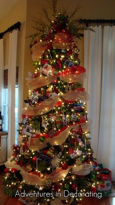 our great room christmas tree i love deco mesh - How To Decorate A Christmas Tree With Deco Mesh