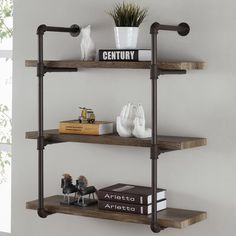3 Tier Industrial Pipe Wall Shelf  Inspiration for in between bath mirrors