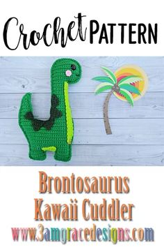 Our Brontosaurus Dinosaur crochet pattern & tutorial makes an adorable pillow for you or your favorite dino lover! How To Crochet A Brontosaurus Dinosaur Amigurumi Pillow With Rosy Kawaii Cheeks! Our Brontosaurus Dinosaur Crochet Pattern Works Up Quickly! Crochet Dinosaur Patterns, Crochet Patterns Amigurumi, Crochet Dolls, Crochet Yarn, Free Crochet, Crochet Crafts, Crochet Projects, Kawaii Crochet, Crochet Dragon