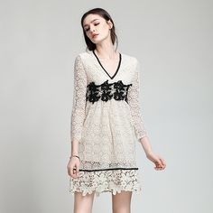 Hollow Out Dress New Designer Clothing 2017 Spring Summer V-Neck Women Black Lace Embroidery Sexy Homecoming Party Wear Feminino