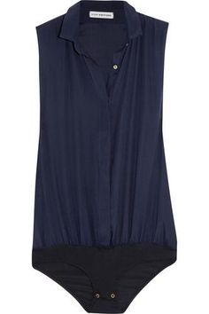 Navy stretch silk-blend crepe Partially concealed button fastenings along front, snap fastenings at base silk, viscose, Lycra Dry clean Bleu Marine, Sleeveless Shirt, Shapewear, Jeans, Spring Outfits, Bodysuit, Silk, Navy, How To Wear