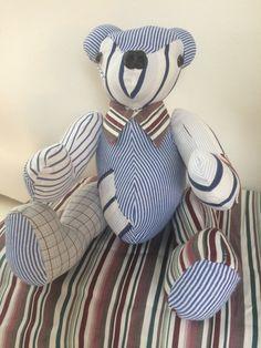Herinneringsberen Balou, gemaakt van opa's overhemden met als wensje: kraagje. Mooi aandenken. www.creacrola.nl