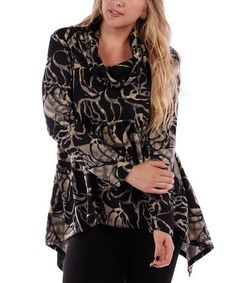 Look what I found on #zulily! Gray & Black Abstract Sidetail Sweater - Plus #zulilyfinds