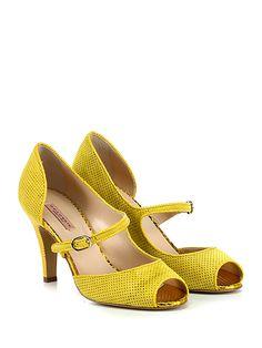 Gaia D'Este - Scarpa con tacco - Donna - Scarpa con tacco open toe in camoscio traforato con cinturino su collo piede e suola in cuoio. Tacco 90. - GIALLO - € 215.00