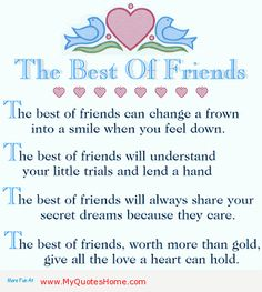 Images and ecards of Friendship - Feelings for social networks or to send by email Best Friends Day Quotes, Best Friend Day, I Love My Friends, Bff Quotes, Funny Quotes, Special Friends, Funny Poems, Sister Friends, Friendship Love