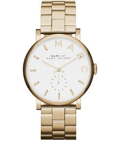 Simple and sleek...Love. Marc by Marc Jacobs Watch, Women's Baker Gold-Tone Stainless Steel Bracelet 37mm MBM3243