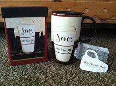 "New Boxed Cypress Home ""Joe on the go"" Ceramic Travel Mug #Cypress"