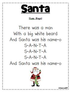 """Santa"" song (tune of ""Bingo"")."