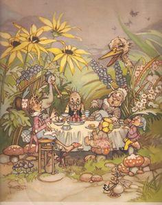 Faeries and Little Folk: Peg Maltby's Fairy Folk Woodland Creatures, Magical Creatures, Brownie Fairy, Vintage Fairies, Postcard Art, Fairy Art, Faeries, Illustration Art, Vintage Illustrations