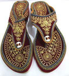 66b31e221 Indian Designer Handmade Leather Slippers Mojari Flip Flops Flat Women  Shoes  Handmade  FlipFlops  Casual
