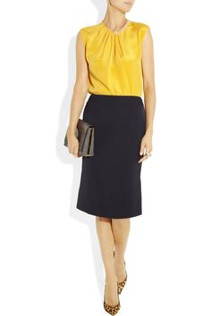 3.1 Phillip Lim top, Clavin Klein Collection skirt, The Row bag, Christian Louboutin shoes