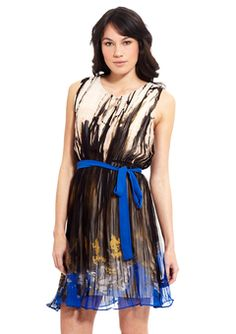 ESLEY Royal Blue Sleeveless Multi Color Dress with Tie Waist