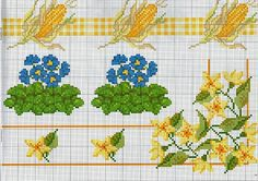cross stitch borders with corn on the cob and yellow flowers