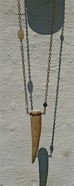 Long Antler Necklace by thebohemianhobo on Etsy