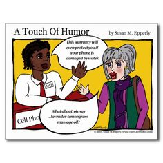 """A Touch of Humor"" Cell Phone Massage Comic http://www.zazzle.com/TigerLilyStudios?rf=238891780775066757"