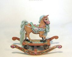 Hand sculpted / carved antique style ROCKING HORSE toy  - Mint seafoam hair, glass eyes - hand-painted Jill Dianne Dollhouse Miniatures