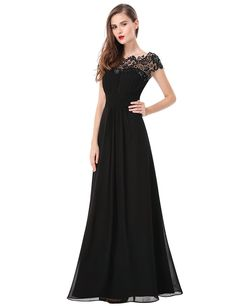 877d802f4d620a Ever Pretty Womens Cap Sleeve Lace Neckline Ruched Bust Evening Gown 4 US  Black
