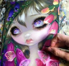 "Work-in-progress - ""Foxgloves"" - one of the paintings I will be debuting at the Dragon*Con Art Show (August 30-Sep. 2nd at the Hyatt Regency Atlanta in the ""Grand Hall WEST ART SHOW"" room), an installment in my Poisonous Beauties series. Another plant I didn't know was toxic until I read up on it! Almost done with this one - the original will be available at the Dragon*Con Art Show, prints & posters will be available online after the event."