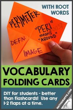 Teaching Math Vocabulary with Root Words and Etymologies - How to create folding cards for student review of content-specific vocab terms
