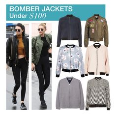 """Under $100: Bomber Jackets"" by polyvore-editorial ❤ liked on Polyvore featuring Dorothy Perkins, Sans Souci, River Island, New Look, MANGO, under100 and bomberjackets"