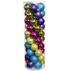WeRChristmas 50-Piece Shatterproof Plastic Colour Co-ordinated Christmas Tree Baubles Decoration Pack, Pink/ Purple/ Green/ Blue WeRChristmas http://www.amazon.co.uk/dp/B00KU10WPM/ref=cm_sw_r_pi_dp_aT9zub08PH1AQ
