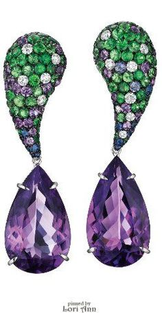 Spectacular carat amethyst earrings with tzavorite garnets, diamonds, sapphires, and more amethysts. By Margherita Burgener. - Diamonds in the Library Black Gold Jewelry, Purple Jewelry, Amethyst Jewelry, Fall Jewelry, Amethyst Earrings, I Love Jewelry, Jewelry Design, Diamond Earrings, Diamond Jewelry