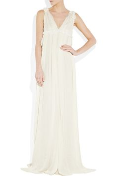 This Lanvin pleated silk chiffon gown ($5,185) features the most luxurious, romantic cuts that's still easy and relaxed enough for an aftern...