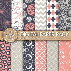 Pink Navy Blue White Damask Floral Geometric Digital Paper for Personal or Commercial Use - 12 Sheets - 300 DPI - 12343 by aestheticaddiction on Etsy https://www.etsy.com/listing/99881117/pink-navy-blue-white-damask-floral