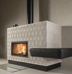"Sommerhuber, photo Tiled stove with renaissance tile ""Tapetenmuster"" Decor, Stove Fireplace, Stove, Home, Interior, Fireplace, Modern, Home Decor, Furniture Decor"