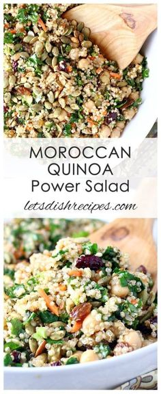 Moroccan Quinoa Power Salad Recipe: This hearty grain salad is loaded with vegetables, protein and sweet dried fruit. It's a great side or light lunch any day of the week! #salad #quinoa #recipe #healthy #superfood