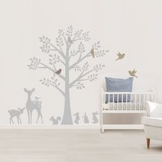 Vintage Tree Wall Stickers fabric, available in other colours too