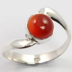 925 Sterling Silver Stunning Ring Size US 6.5 Genuine CARNELIAN Round Gemstone #SunriseJewellers #Fashion