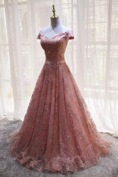 Off Shoulder Sparkly Pink A-line Long Evening Prom Dresses, Cheap Custom Sweet 16 Dresses, 18542 Grad Dresses Long, Sparkly Prom Dresses, Elegant Prom Dresses, Sweet 16 Dresses, Dresses For Teens, Pretty Dresses, Homecoming Dresses, Beautiful Dresses, Evening Dresses