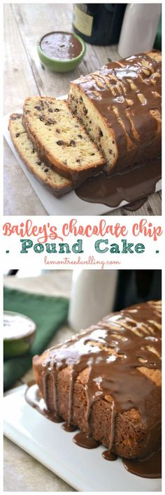This Bailey's Chocolate Chip Pound Cake is flavored with chocolate chips and Bailey's Irish Cream then drizzled with a chocolate Bailey's icing. Perfect for breakfast OR dessert! Chocolate Chip Pound Cake, Tasty Chocolate Cake, Mini Chocolate Chips, Chocolate Drizzle, Best Dessert Recipes, Fun Desserts, Sweet Recipes, Dessert Ideas, Holiday Recipes