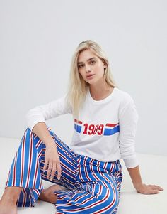 52118efead DESIGN 1989 long sleeve tee and striped wide leg pyjama set