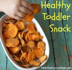 Healthy Frugal Toddler Snack | Sweet Potato Chips.  Satisfy your little ones sweet tooth while filling them with beta-carotene and all for just pennies.